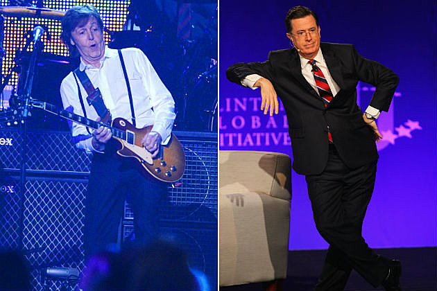 Paul McCartney and Stephen Colbert