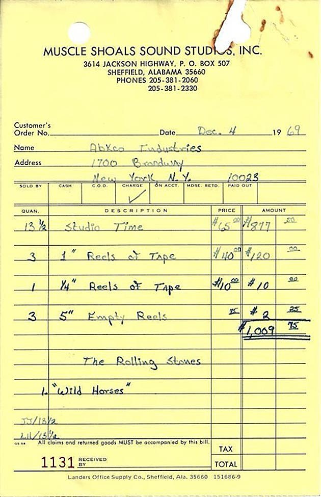 Rolling Stones Muscle Shoals Receipt