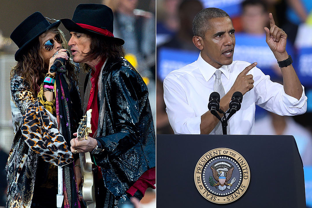 Aerosmith hang out with Obama onboard Air Force One