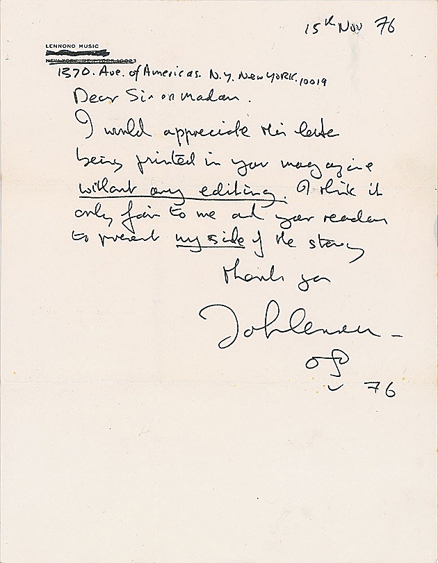 the john lennon letters lennon s letter to ex for at auction 13891 | lennonletter2