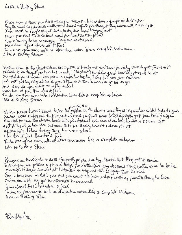 Bob Dylan's Handwritten 'Like a Rolling Stone' Lyrics Up for Auction