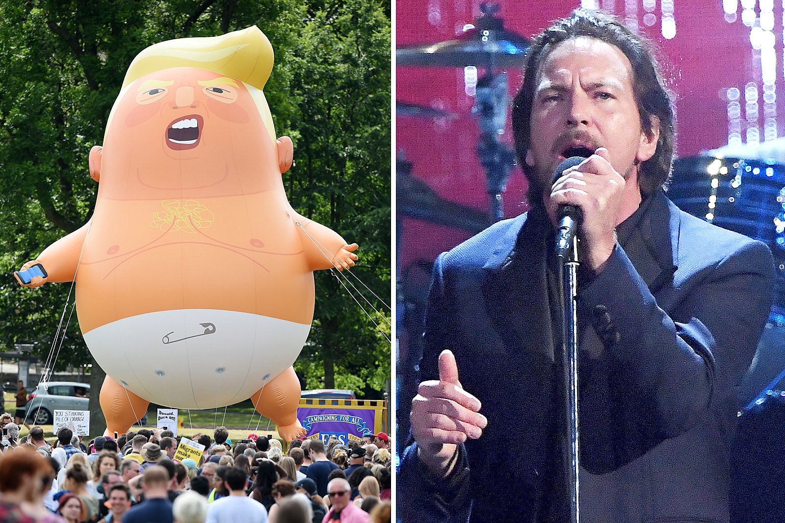 Pearl Jam Use Trump Baby Balloon at London Show