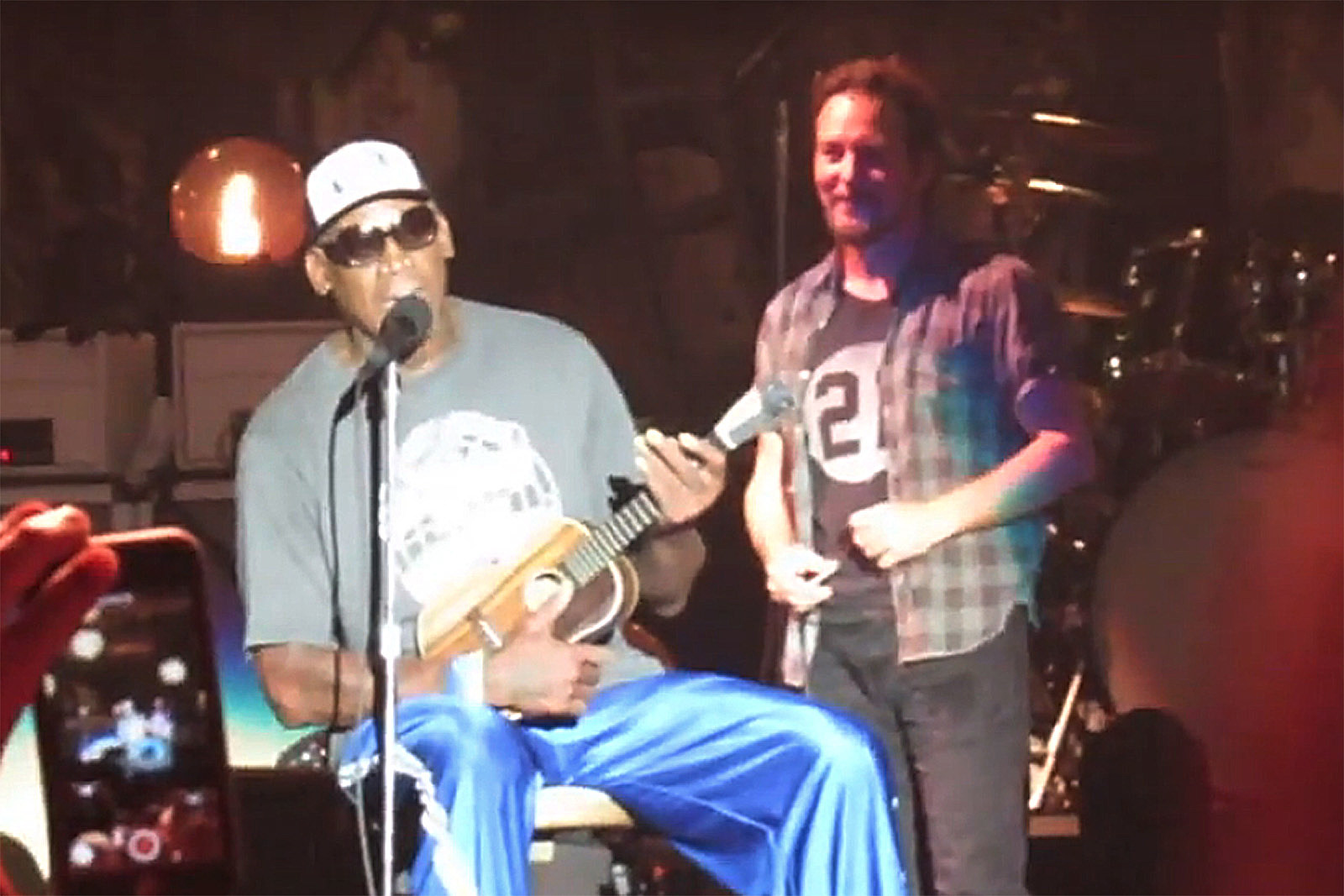 Watch Dennis Rodman Give Eddie Vedder a Ukulele on Pearl Jam Stage
